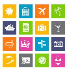 summer and travel icons vector image vector image