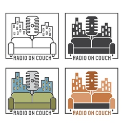 Vintage labels of radio with microphone and couch vector