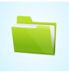 Green file folder icon isolated on blue vector image vector image