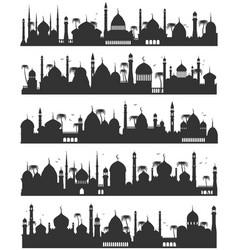 islamic city skyline flat sketch vector image vector image