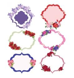Vintage floral frame set vector image