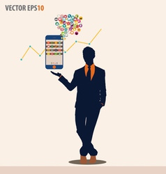 Businessman showing touchscreen device with cloud vector image vector image
