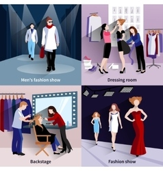 Fashion model catwalk set vector image vector image
