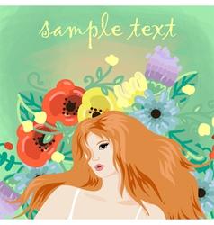 portrait of beautiful redhead girl vector image vector image