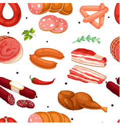 seamless pattern with meat products vector image vector image