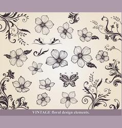 set of flower design of elements vector image vector image