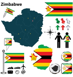 Zimbabwe map vector image vector image