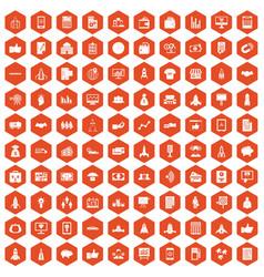 100 startup icons hexagon orange vector