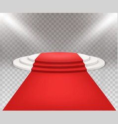 3d isolated three stepped round white podium with vector image