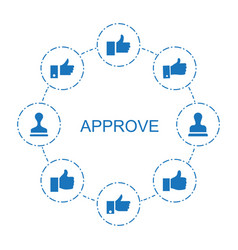 8 approve icons vector