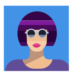 Abstract female portrait in sunglasses party vector