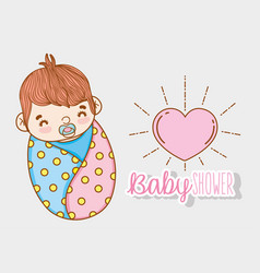 Baby boy shower with pacifier and heart vector