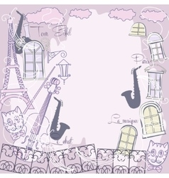 Background with music saxophone and cat vector image