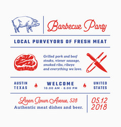Barbecue party signs titles inscriptions and vector