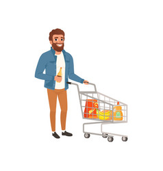 Bearded man pushing shopping cart with groceries vector