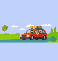 big family traveling car out town vector image
