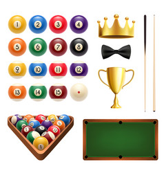 Billiards sport 3d icon with ball cue and table vector