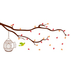 Bird leaving cage from Tree Branch vector