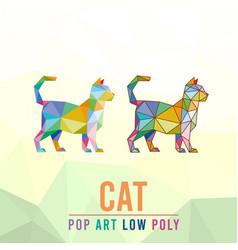 Cat animal pet pop art low poly line logo icon vector