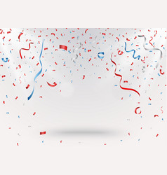 Celebration background with red confetti and blue vector