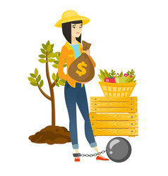 Chained asian farmer holding a money bag vector