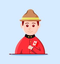 Character canadian ranger holding flag - greeting vector
