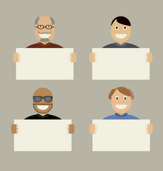characters with white card board vector image