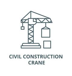 Civil construction crane line icon linear vector