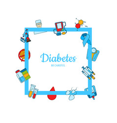 colored diabetes icons with place for text vector image