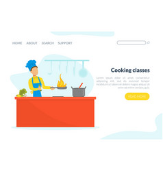 cooking classes landing page template online vector image