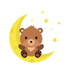 Cute cartoon teddy bear on the moon vector