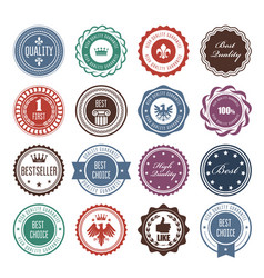emblems badges and stamps - prize seals designs vector image