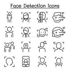 face detection recognition icon set in thin line vector image