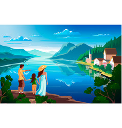 family admires nature beautiful mountain vector image