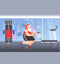 Fat santa claus doing exercises with jumping rope vector