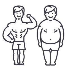 fitnessbefore and afterstrong manfat guy vector image