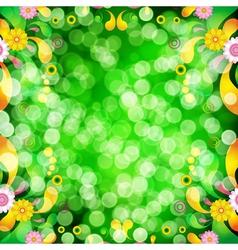Floral background with bokeh defocused lights vector image