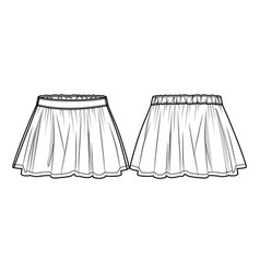 front and back view of a flared skirt vector image