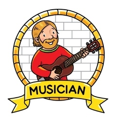 Funny musician or guitarist Profession ABC series vector image