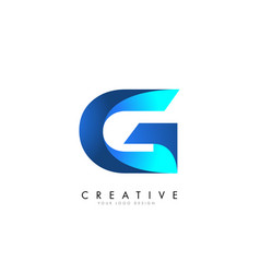 g letter logo design with 3d and ribbon effect vector image