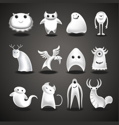 Ghosts and monsters cartoon funny evil halloween vector