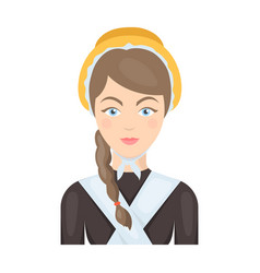 Girl with a braid and in a headdressthe dark vector