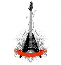 Guitar with pattern vector
