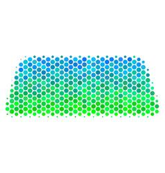 Halftone blue-green treasure brick icon vector