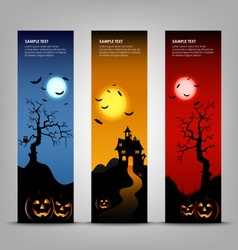 Halloween night banner with pumpkins template vector