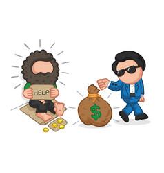 Hand-drawn cartoon of rich man giving money bag vector