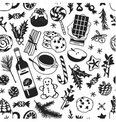 hand drawn christmas seamless pattern with food vector image