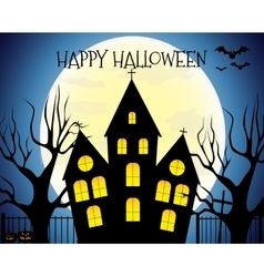 Happy Halloween house scary on blue background vector
