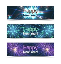 Happy New Year banners set with fireworks vector image