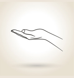 Icon empty open hand vector